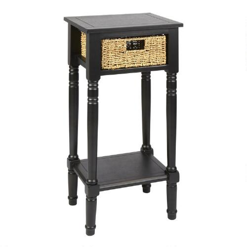 Black end table with seagrass drawer christmas tree for Black side table with drawer