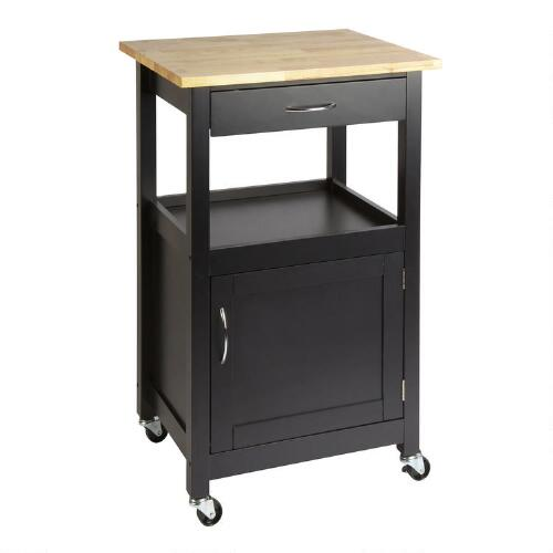 Kitchen Cart With Drawers: Black Rolling Kitchen Cart With Drawer