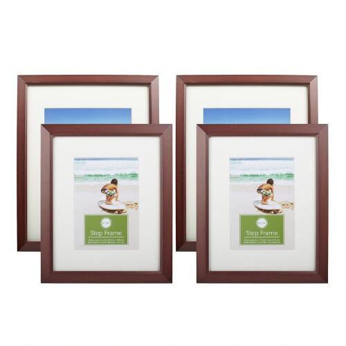 Christmas Tree Shop Picture Frames: White Matted Walnut Wood Frames, Set Of 2