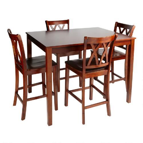 Walnut Dining High Top Table And Chairs, 5-Piece Set