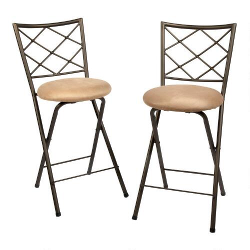 lattice back folding bar stool chairs set of 2 christmas tree shops andthat. Black Bedroom Furniture Sets. Home Design Ideas