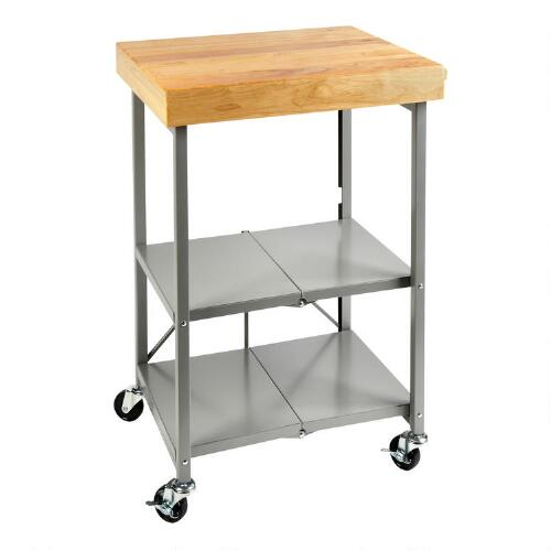 Gray folding kitchen cart with butcher block christmas for Collapsible kitchen cart