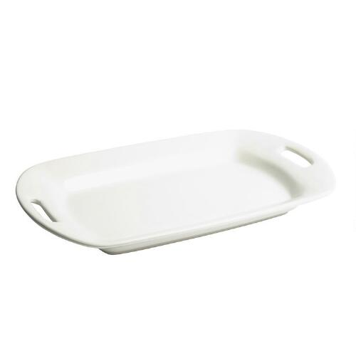 White Ceramic Serving Platter With Handles Christmas