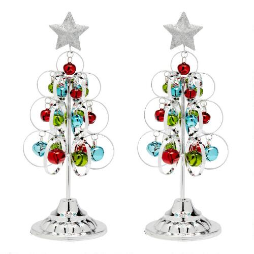 Silver standing metal trees with ornaments set of