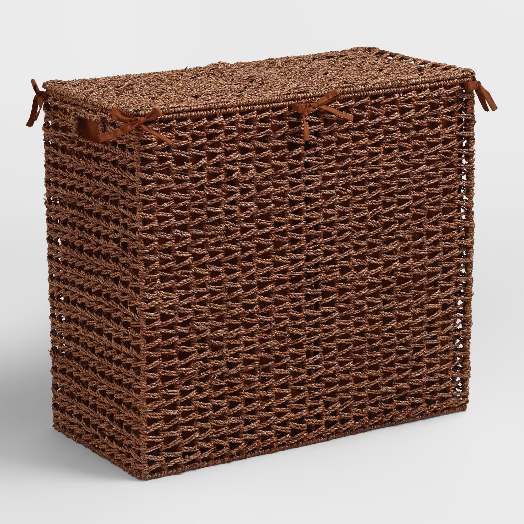 Brown seagrass divided hamper world market - Divided laundry hampers ...