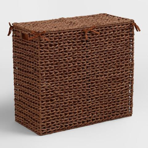 Brown Seagrass Divided Hamper World Market