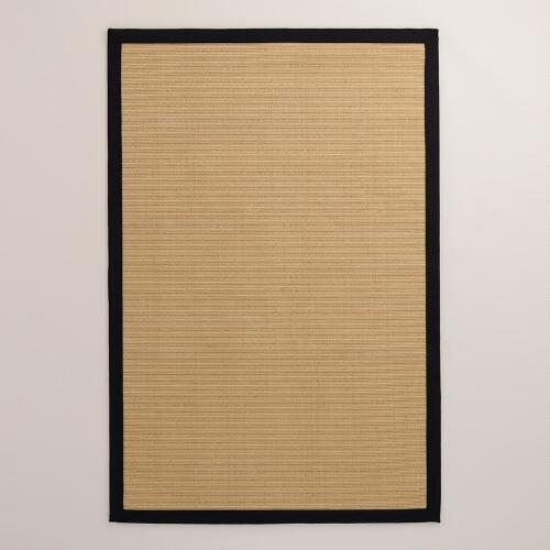 Black Border Jute Boucle Rug