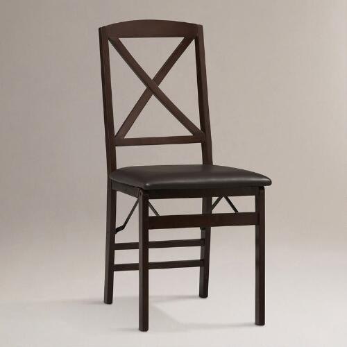 Fortuna X-Back Folding Dining Chairs, Set of 2