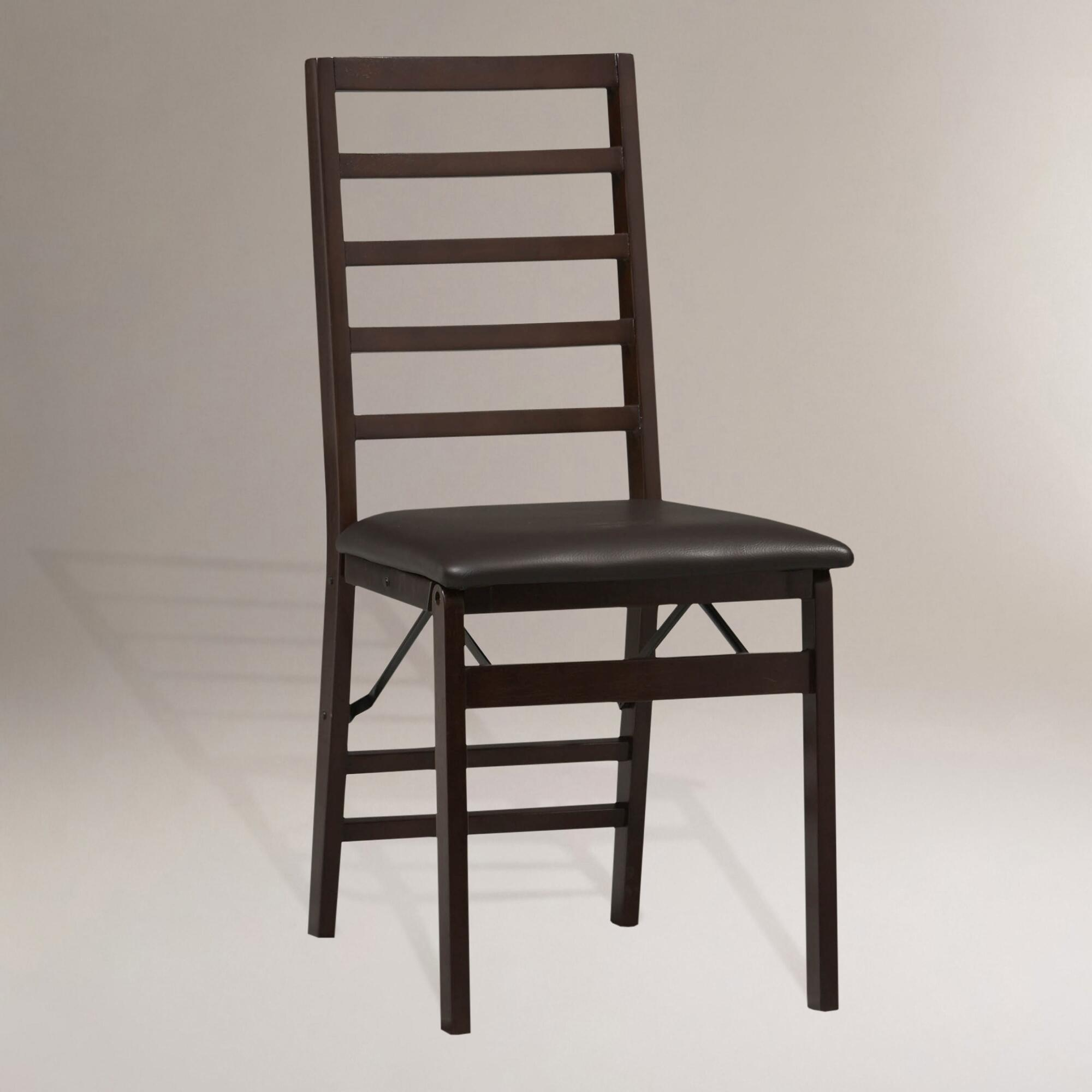 Folding Dining Chairs ~ Ladder back folding dining chairs set of world market