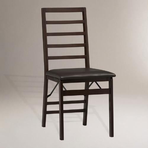 Ladder Back Folding Dining Chairs, Set of 2