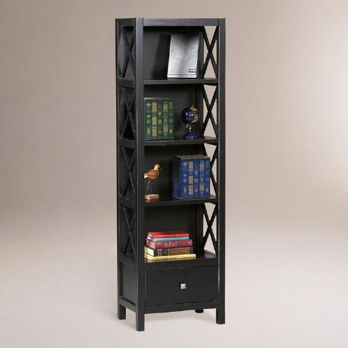 Antiqued Black Tall Easton Bookshelf