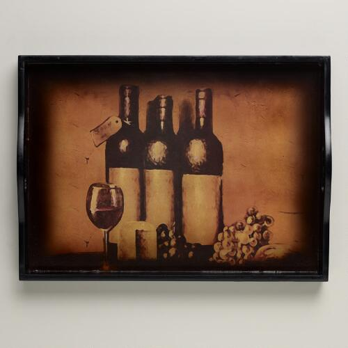 Wine Bottle Printed Tray
