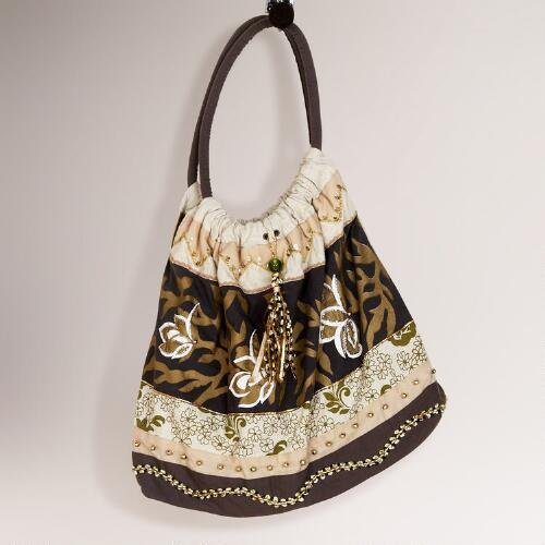 Floral Stripe Embroidered Bag
