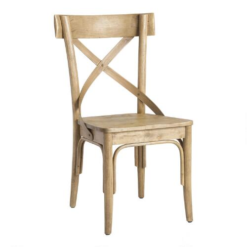 Light Walnut Finish French Bistro Side Chairs, Set of 2