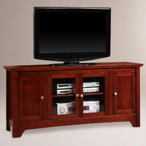 Walnut Brown Wood Carver Media Stand