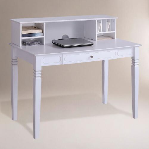 White Wood Douglas Desk with Hutch