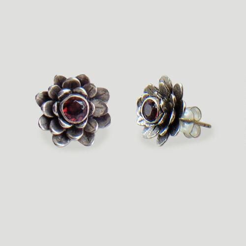 Novica Red-Eyed Lotus Garnet Earrings