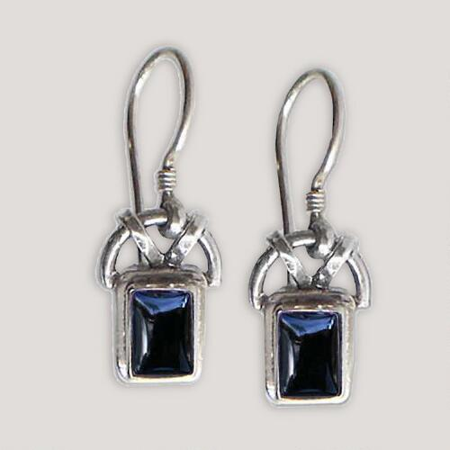 Novica Black Vision Onyx Dangle Earrings