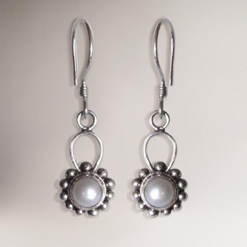Novica Silver Moonlight Pearl Dangle Earrings