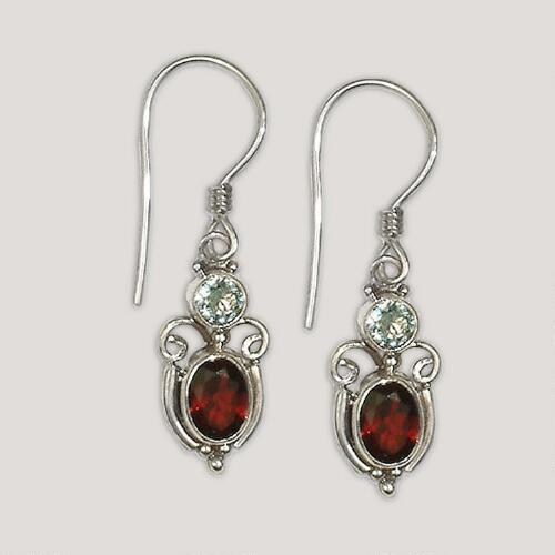 Novica Fire and Ice Garnet and Blue Topaz Dangle Earrings