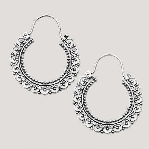 Novica Balinese Lace Sterling Silver Hoop Earrings