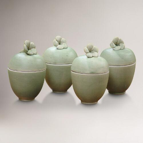 Novica Frangipani Surprise Ceramic Jars, Set of 4