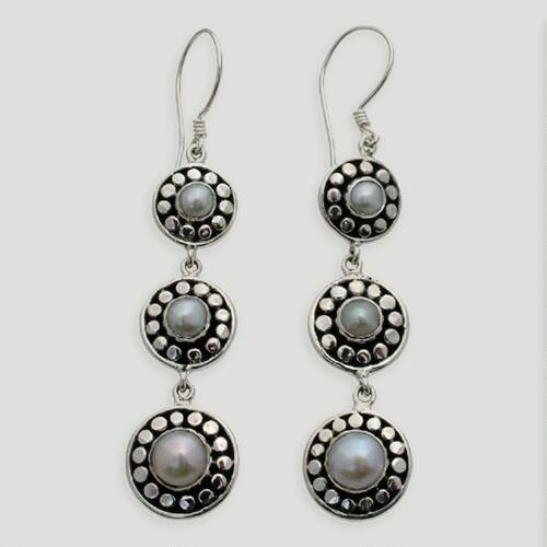 Novica Sunny Trio Pearl Drop Earrings