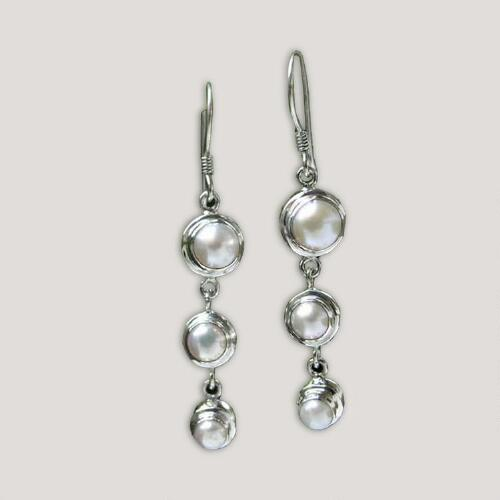 Novica Three Full Moons Pearl Drop Earrings