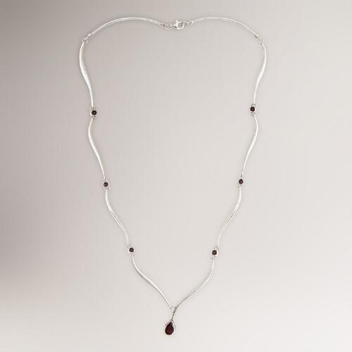 Novica Silver Tendrils Garnet Necklace