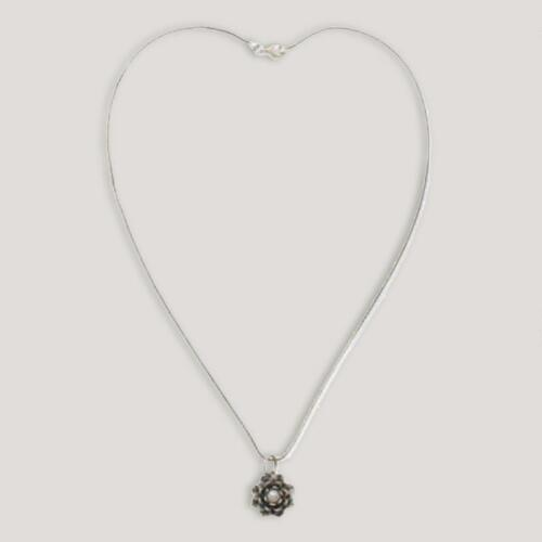Novica Sacred White Lotus Pearl Pendant Necklace