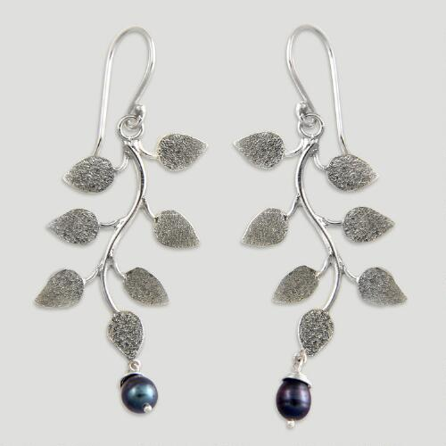 Novica Black Forest Pearl Drop Earrings