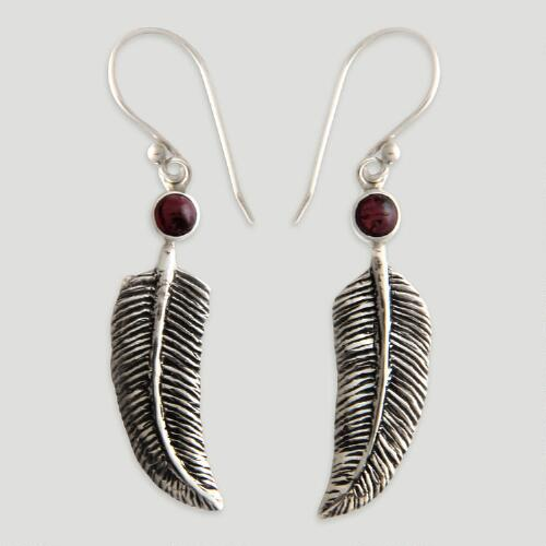 Novica Light as a Feather Garnet Drop Earrings
