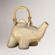 Novica Cream Elephant Ceramic Teapot