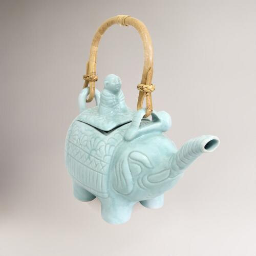 Novica Turquoise Buddha and Elephant Ceramic Teapot