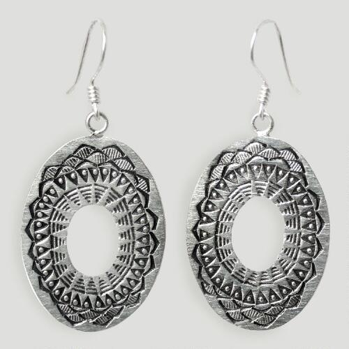 Novica Lotus Shield Sterling Silver Dangle Earrings