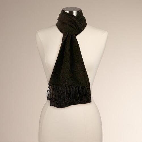 Novica Black Gift of Warmth Alpaca Wool Scarf