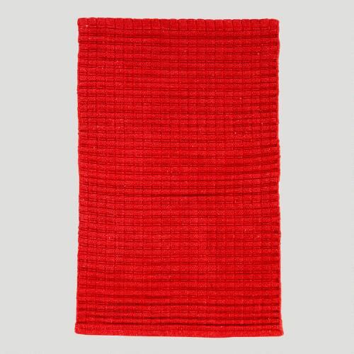 Chunky Woven Cotton Rug, Red