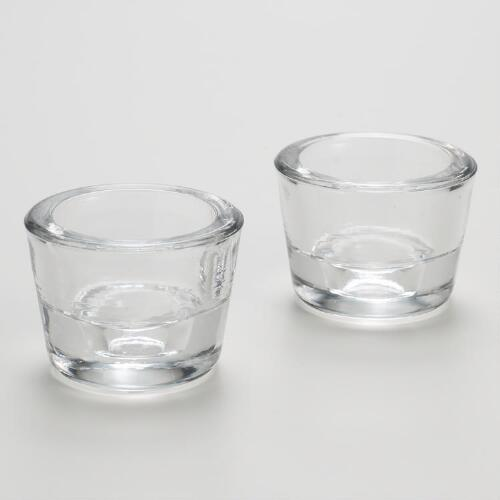 Taper or Tealight Glass Candleholders Sets of 2