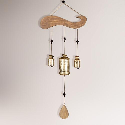 Wood Wind Chime with 3 Temple Bells