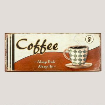Metal Coffee Cup Sign