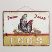 Metal Fresh Eggs Sign