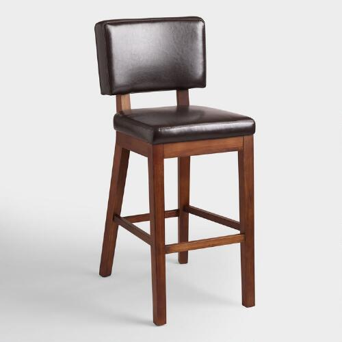 Espresso Bonded Leather Sophia Barstools, Set of 2