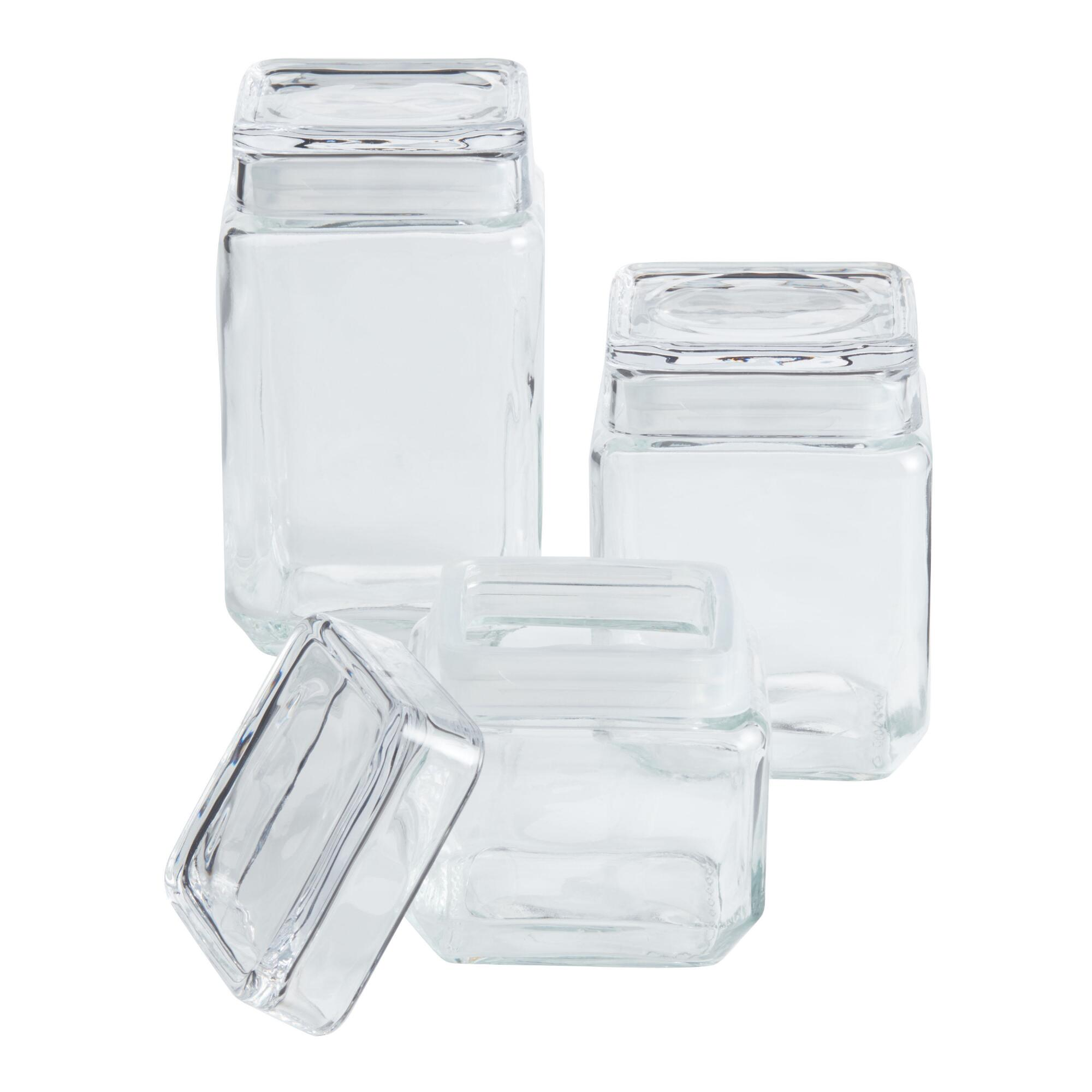 Stackable Square Glass Jars With Lids World Market