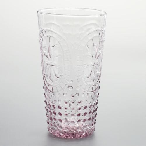 Plum Fleur de Lys Highball Glass, Set of 4