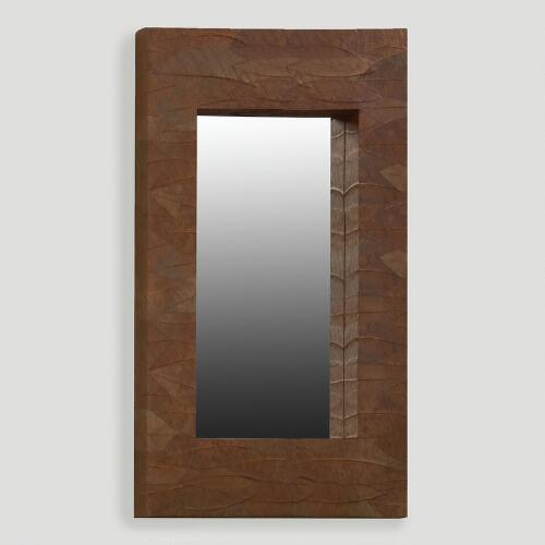 Mahogany Leaf Mirror, Oversized