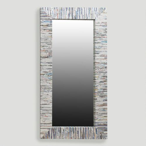 Recycled Magazine Mirror, Oversized with Silver Thread
