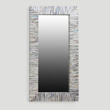 Recycled Magazine Mirror, Oversized with Gold Thread
