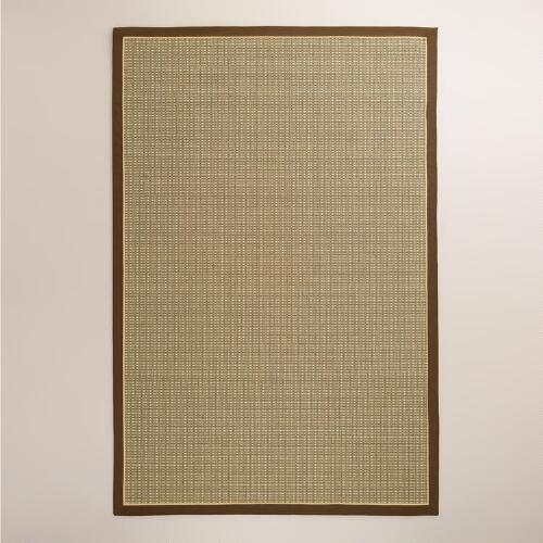 Brown Cotton Border Panama Sisal Rug, Tan