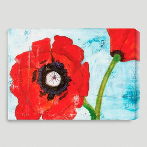 """Poppies on Blue I"" by Laura Gunn"
