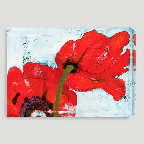 """Poppies on Blue III"" by Laura Gunn"